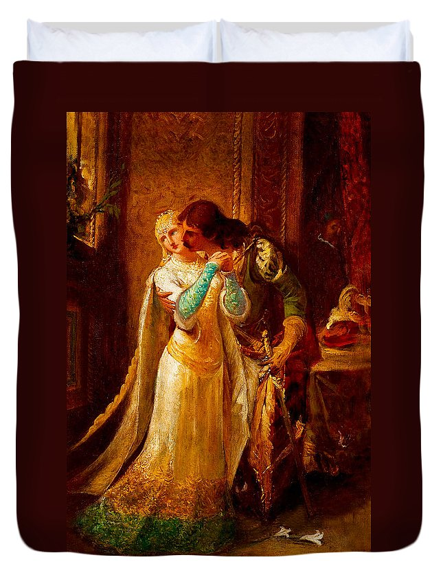 Pedro Americo Duvet Cover featuring the digital art Faust And Gretchen by Pedro Americo