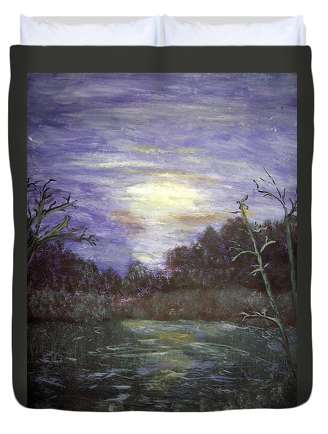 Sunsets Duvet Cover featuring the painting Favorite Fishing Spot In Brainerd Minnesota by Dawn Randle