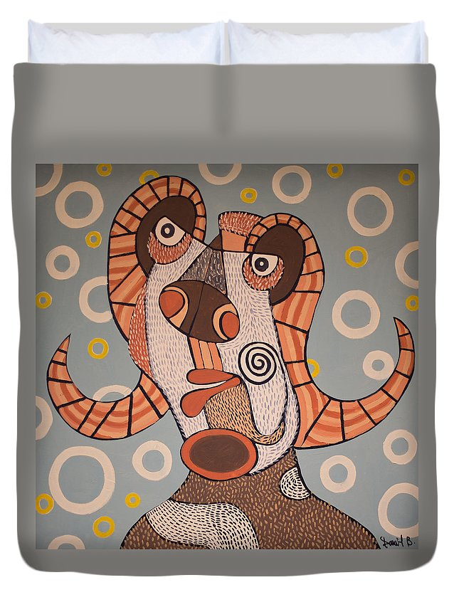Modern Art Duvet Cover featuring the painting Fawn by Daniel Burtea