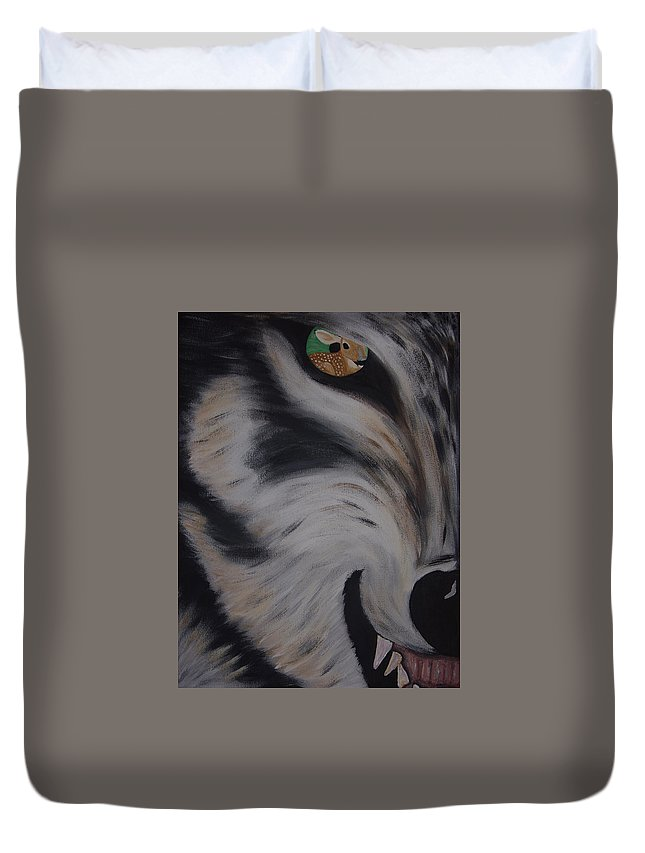 Red Wolf Duvet Cover featuring the painting Fawn In A Red Wolf's Eye by Dean Stephens