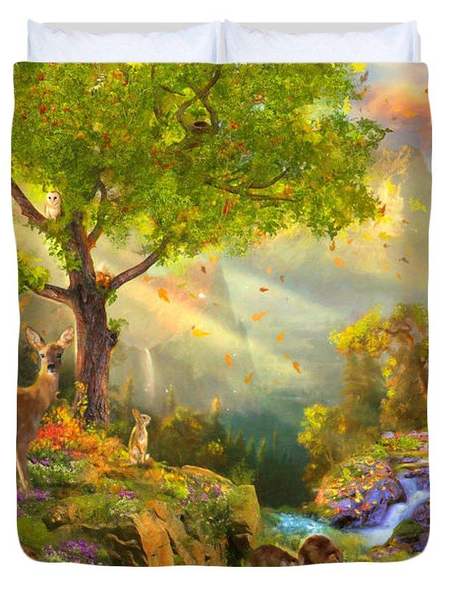 Aimee Stewart Duvet Cover featuring the digital art Fawn Mountain by Aimee Stewart