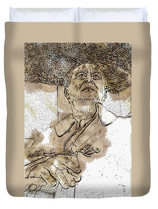 District Of Columbia Duvet Cover featuring the digital art Fdr - 3164 Brown Water Sketch by David Lange