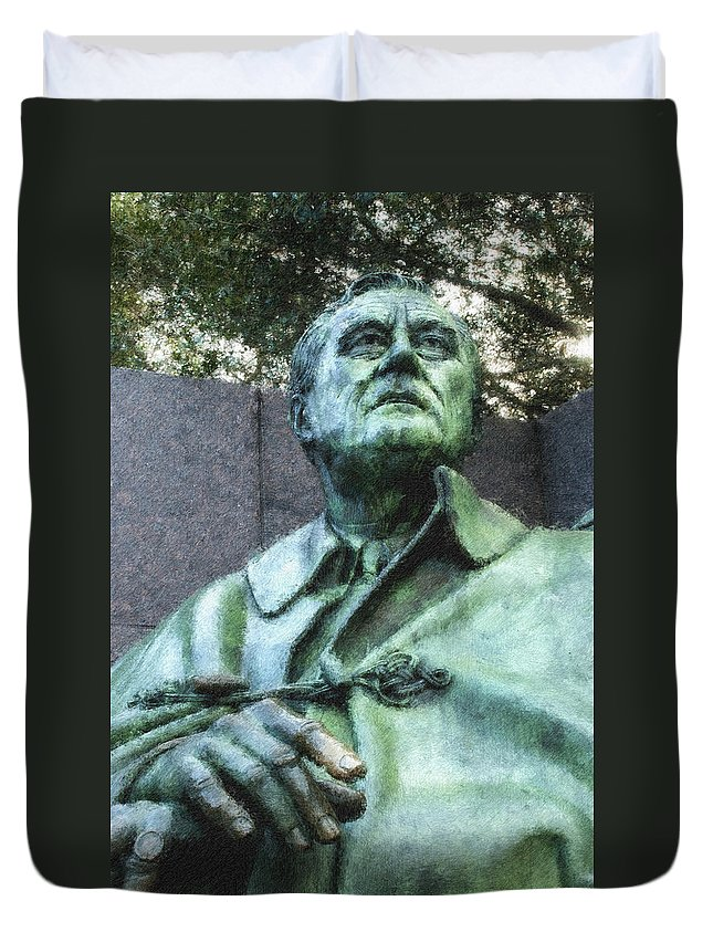 District Of Columbia Duvet Cover featuring the digital art Fdr - 3164 Pastel Chalk 2 by David Lange