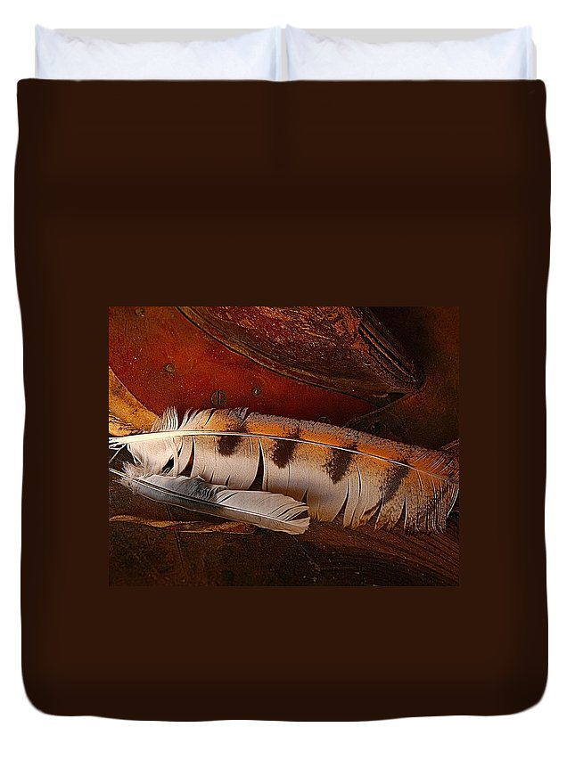 Still Life Duvet Cover featuring the photograph Feather And Leather by Steven Reed