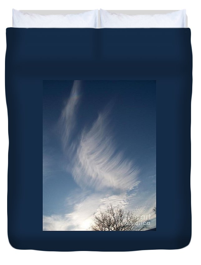 Angel Duvet Cover featuring the photograph Feather Cloud By Diane Schiabor by Eric Schiabor