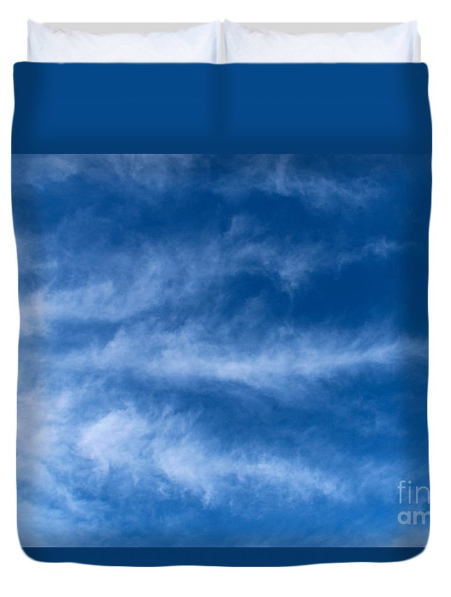 Feather Duvet Cover featuring the photograph Feather Clouds On Blue Sky by Kerstin Ivarsson