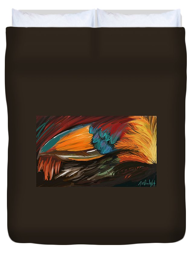 Rooster Duvet Cover featuring the painting Feathers 2 by Naomi McQuade