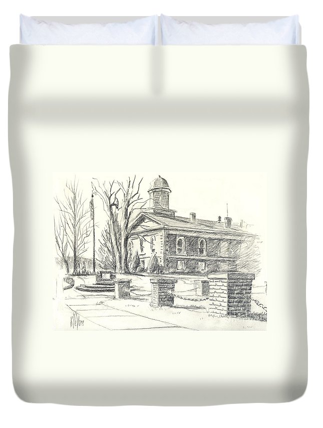 February Morning No Ctc102 Duvet Cover featuring the drawing February Morning No Ctc102 by Kip DeVore