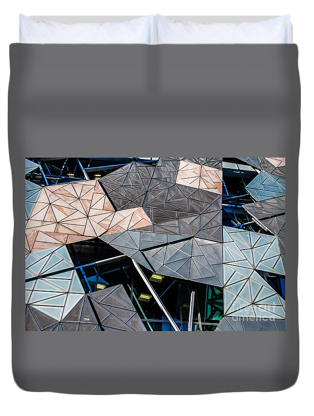 Federation Duvet Cover featuring the photograph Federation Square Melbourne by Mariusz Prusaczyk
