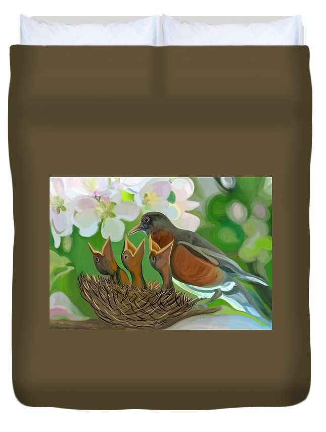 Birds Duvet Cover featuring the painting Feed Me Momma by Susanna Katherine
