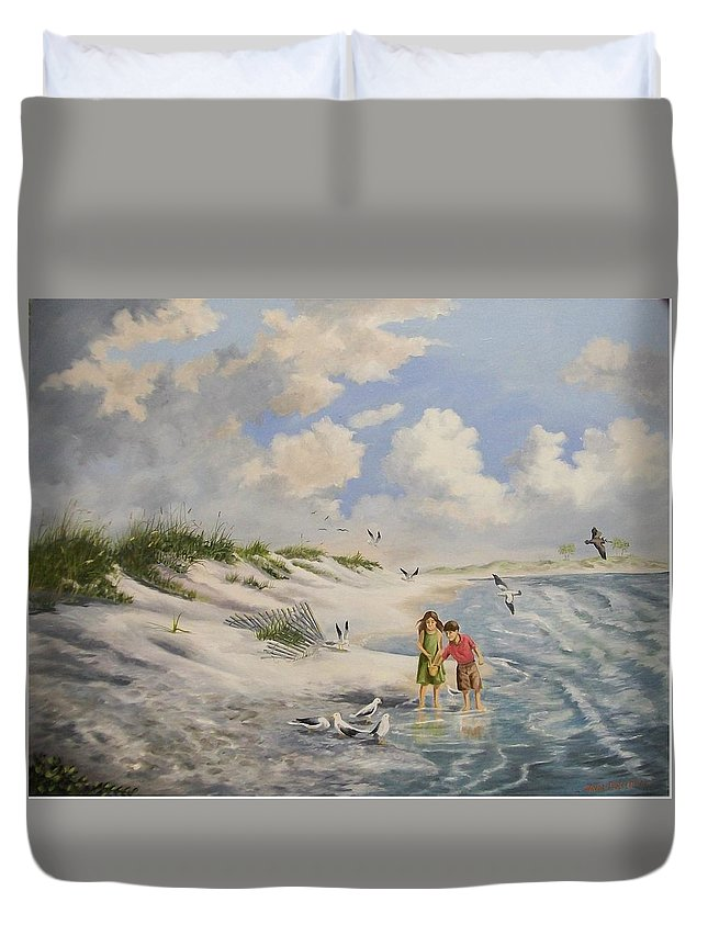 2 Children Duvet Cover featuring the painting Feeding The Wildlife by Wanda Dansereau