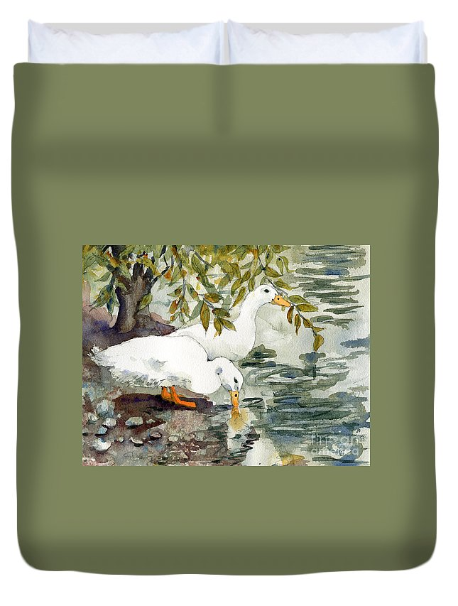 Watercolor Duvet Cover featuring the painting Feelin' Duckie by Miriam Schulman