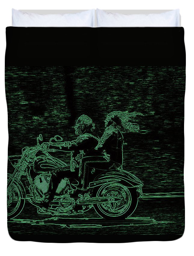 Motorcycling Duvet Cover featuring the photograph Feeling The Ride by Karol Livote