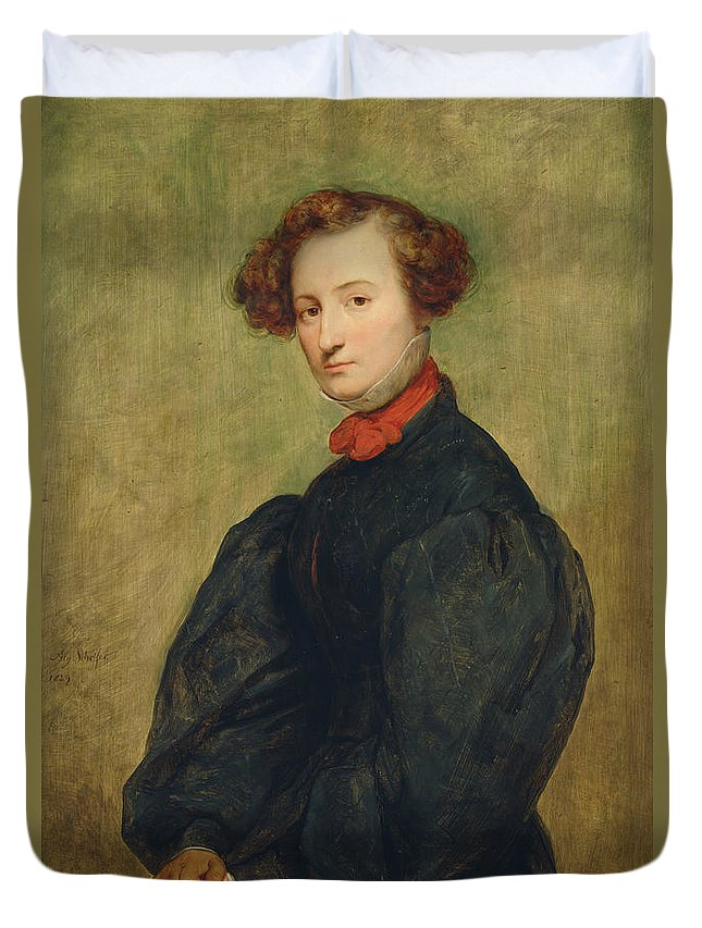 Female Duvet Cover featuring the photograph Felicie De Fauveau, 1829 Oil On Panel by Ary Scheffer