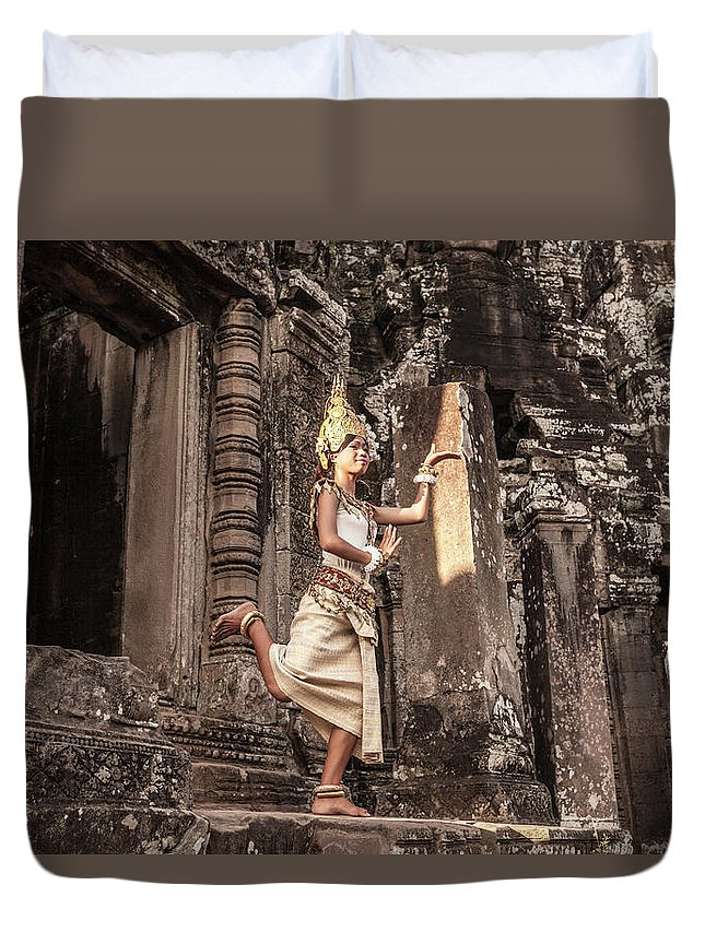 Hinduism Duvet Cover featuring the photograph Female Apsara Dancer, Standing On One by Cultura Exclusive/gary Latham