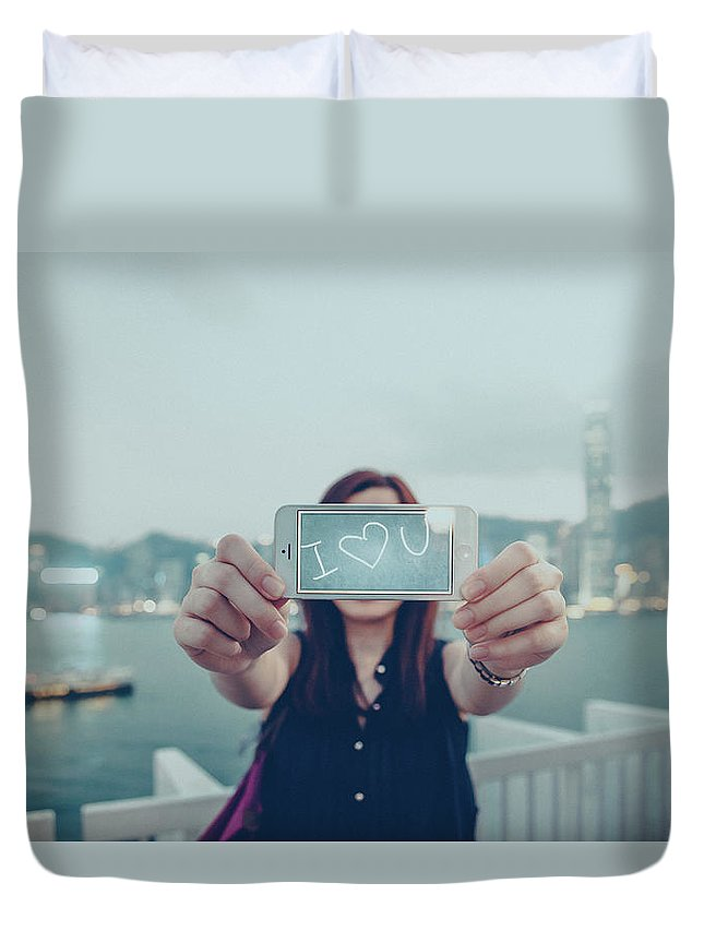 People Duvet Cover featuring the photograph Female Is Saying I Love You With Her by D3sign