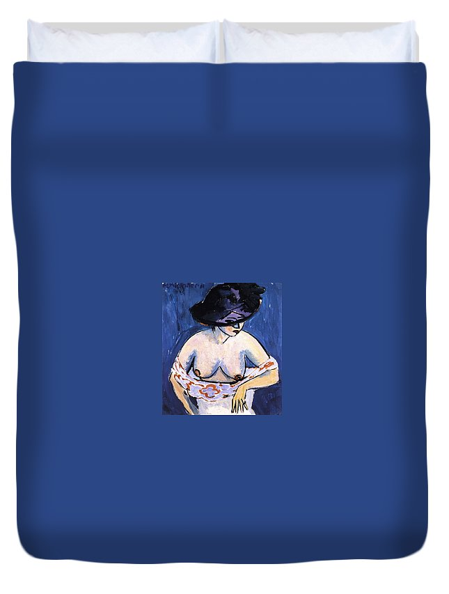 1911 Duvet Cover featuring the painting Female Nude With Hat by Ernst Ludwig Kirchner