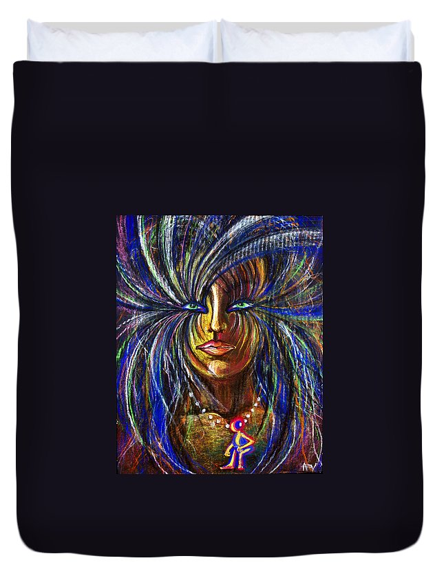 Female Face Duvet Cover featuring the painting Femme Energy by Amy Vialpando