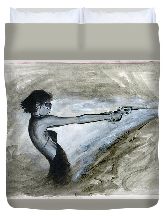 Femme Duvet Cover featuring the painting Femme Fatale by Luis Navarro