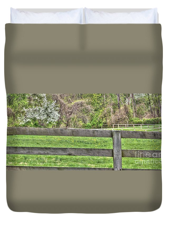 Fence Duvet Cover featuring the photograph Fence Field by Robin Lynne Schwind