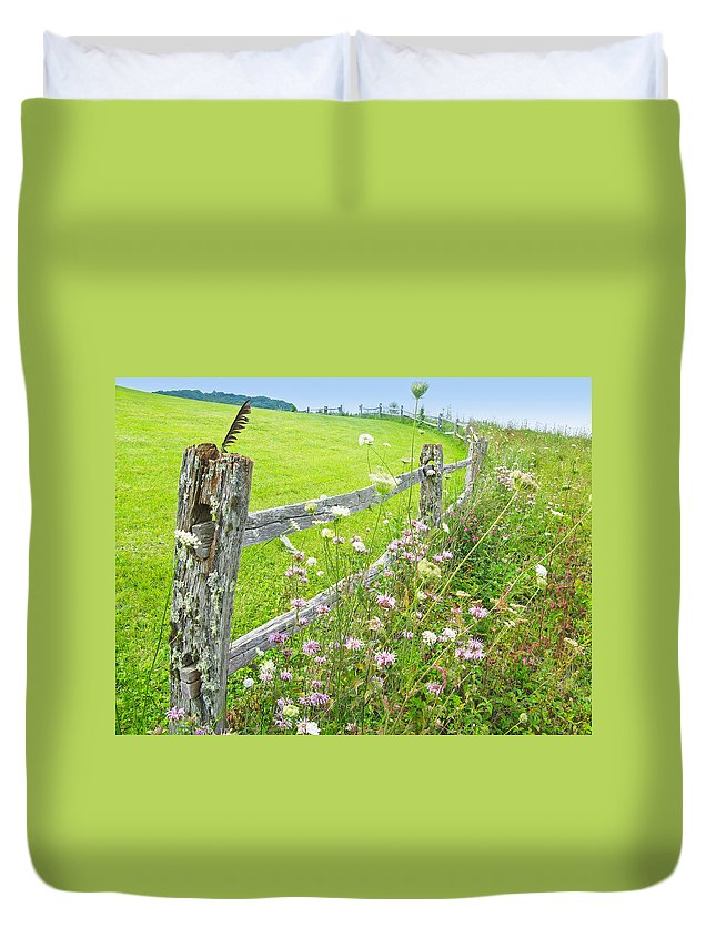 Old Duvet Cover featuring the photograph Fence Post by Melinda Fawver