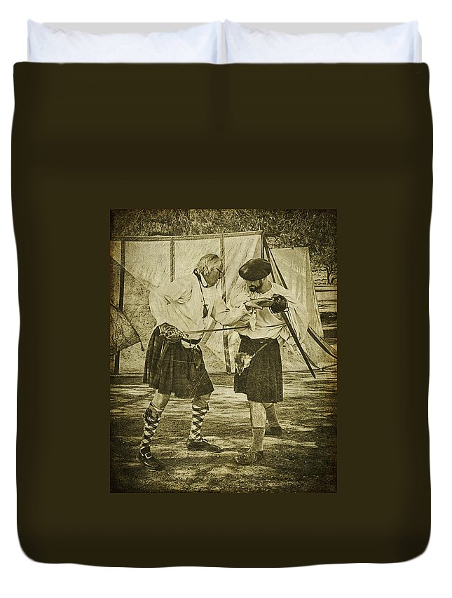 Fencing Duvet Cover featuring the photograph Fencing Practice by Priscilla Burgers