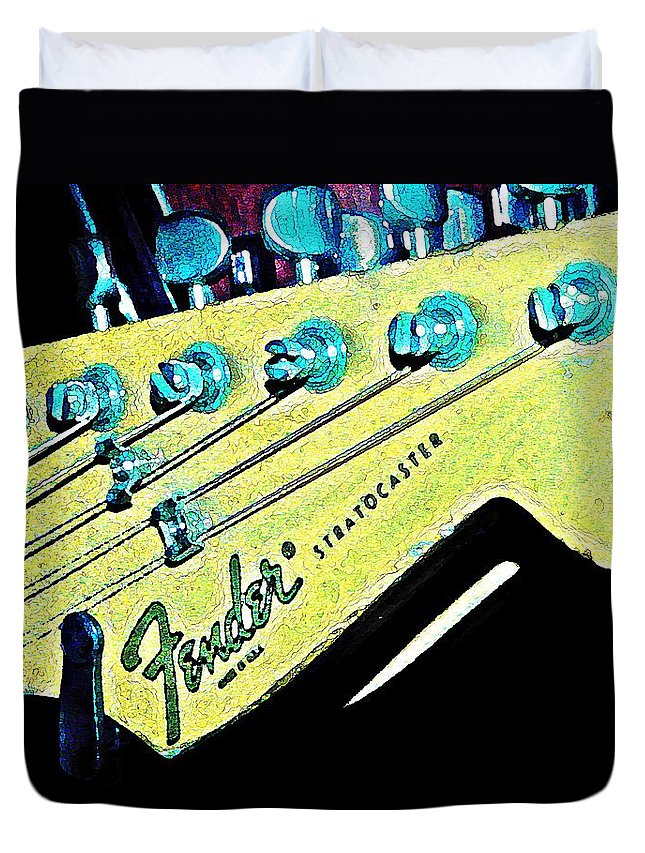 Fender Duvet Cover featuring the photograph Fender Head In Watercolor Photo by Chris Berry
