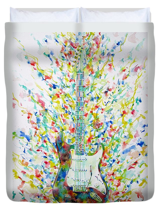 Fender Duvet Cover featuring the painting Fender Stratocaster - Watercolor Portrait by Fabrizio Cassetta