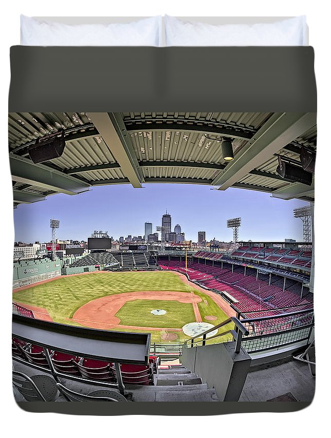 Boston Duvet Cover featuring the photograph Fenway Park And Boston Skyline by Susan Candelario