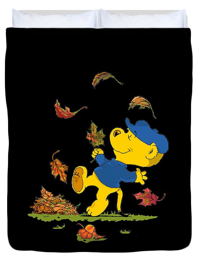 Ferald Duvet Cover featuring the drawing Ferald Dancing Amongst The Autumn Leaves by Keith Williams