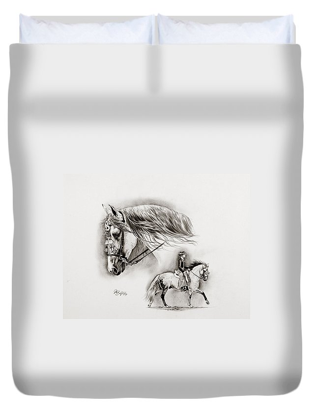 Andalusian Duvet Cover featuring the drawing Feria by Art Imago