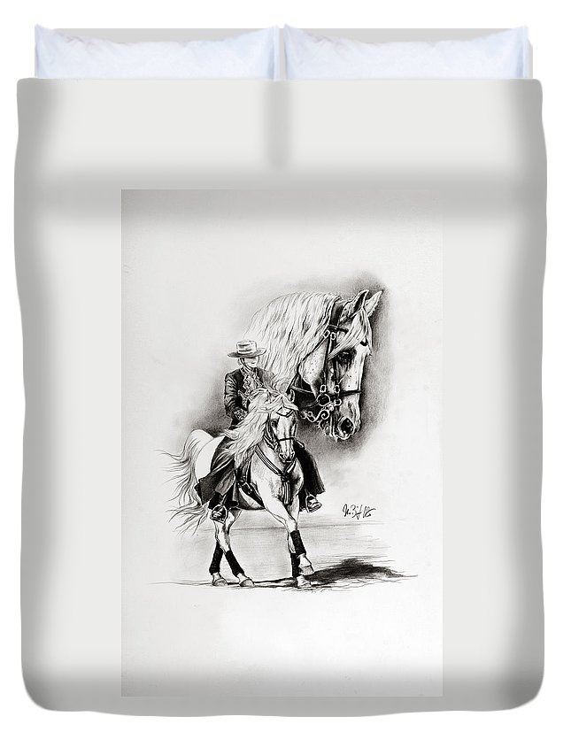 Andalusian Duvet Cover featuring the drawing Feria II by Art Imago
