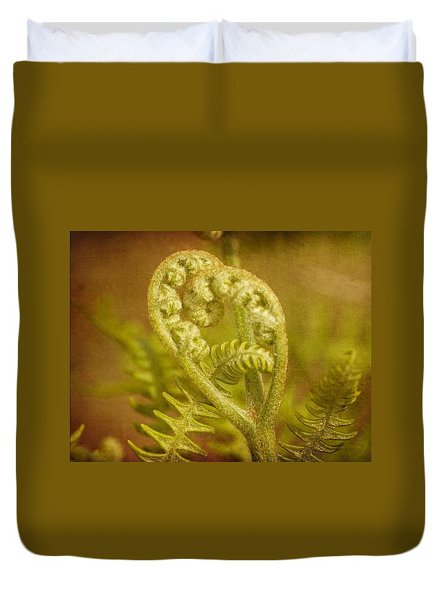 Fern Duvet Cover featuring the photograph Fern Heart by Peggy Collins