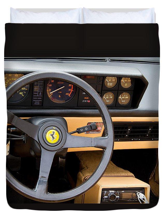 Ferrari 3.2 Mondial Cabriolet Interior Duvet Cover featuring the photograph Ferrari 3.2 Mondial Cabriolet Interior by Roger Mullenhour