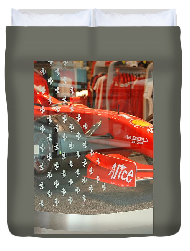 Stallions Duvet Cover featuring the photograph Ferrari Formula One by Rob Hans