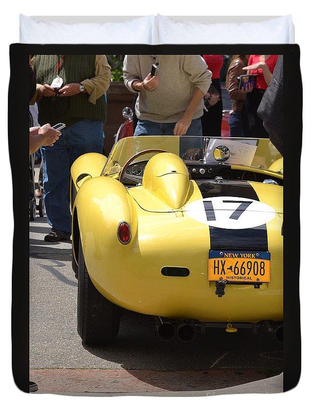 Yellow Duvet Cover featuring the photograph Ferrari Testerosa by Dean Ferreira