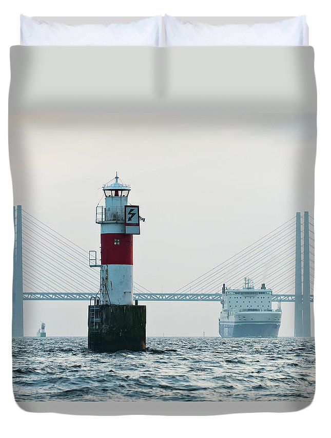 Copenhagen Duvet Cover featuring the photograph Ferry On Sea, Oresund Bridge In by Johner Images