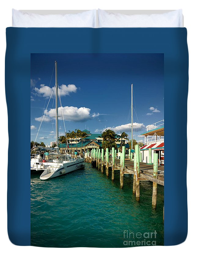 Bahamas Duvet Cover featuring the photograph Ferry Station Paradise Island by Amy Cicconi