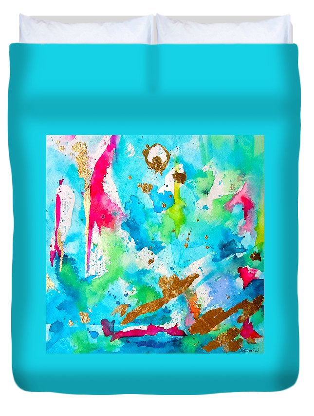 Abstract Painting Duvet Cover featuring the painting Festive by Roleen Senic