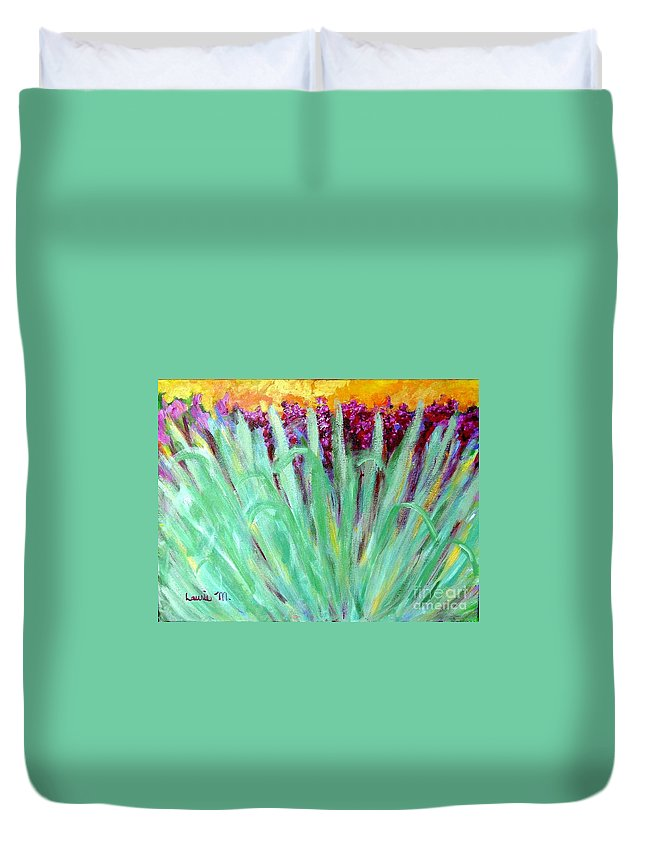 Abstract Duvet Cover featuring the painting Festoon by Laurie Morgan