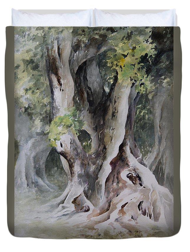 Landscape Duvet Cover featuring the painting Ficus Aurea by Rachel Christine Nowicki