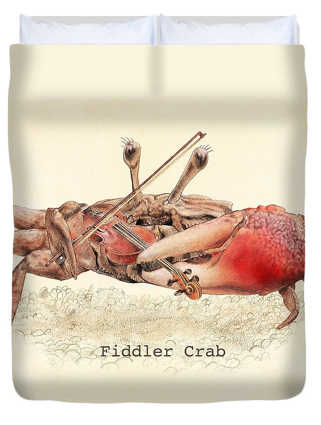 Crab Duvet Cover featuring the drawing Fiddler Crab by Eric Fan