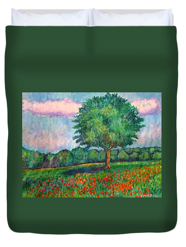 Trees Duvet Cover featuring the painting Field Edge by Kendall Kessler