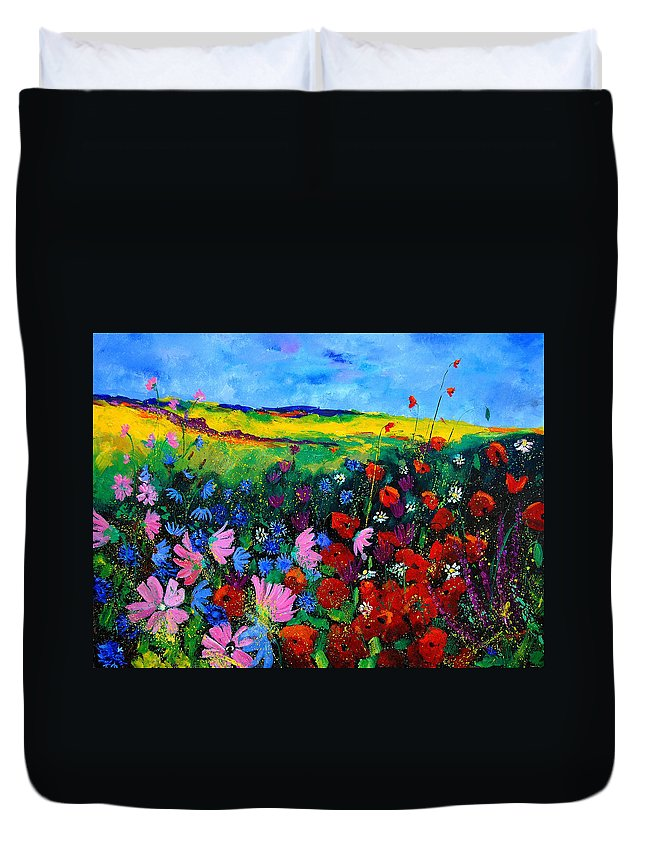 Poppies Duvet Cover featuring the painting Field flowers by Pol Ledent