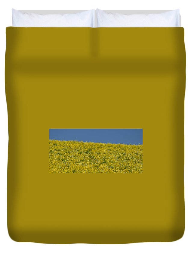 Field Of Mustard Duvet Cover featuring the photograph Field Of Mustard by Debra Wales