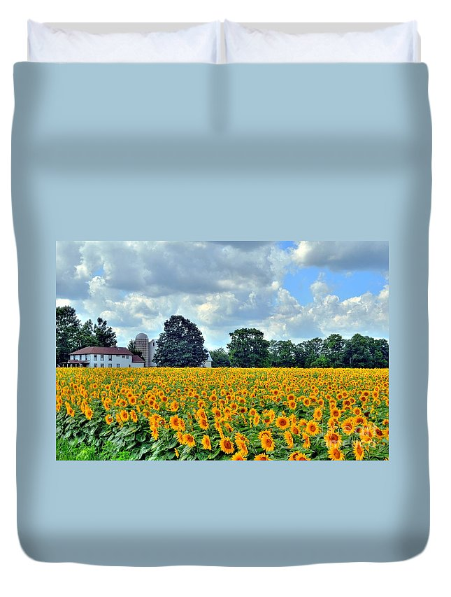 Sunflower Duvet Cover featuring the photograph Field Of Sunflowers by Kathleen Struckle