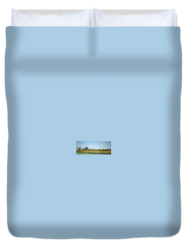 Landscape Duvet Cover featuring the painting Field Of Sunshine by Patricia Henderson