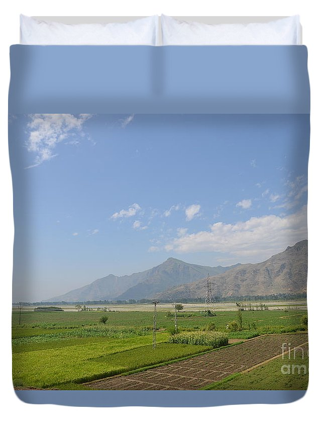 Mountains Duvet Cover featuring the photograph Fields Mountains Sky And A River Swat Valley Pakistan by Imran Ahmed