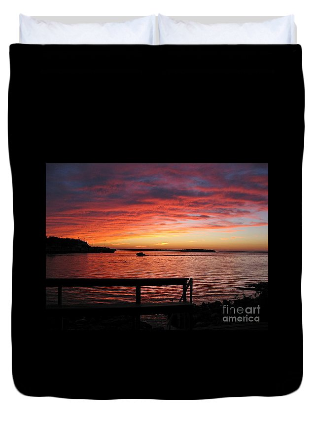 Sunset Duvet Cover featuring the photograph Fiery Afterglow by Ann Horn