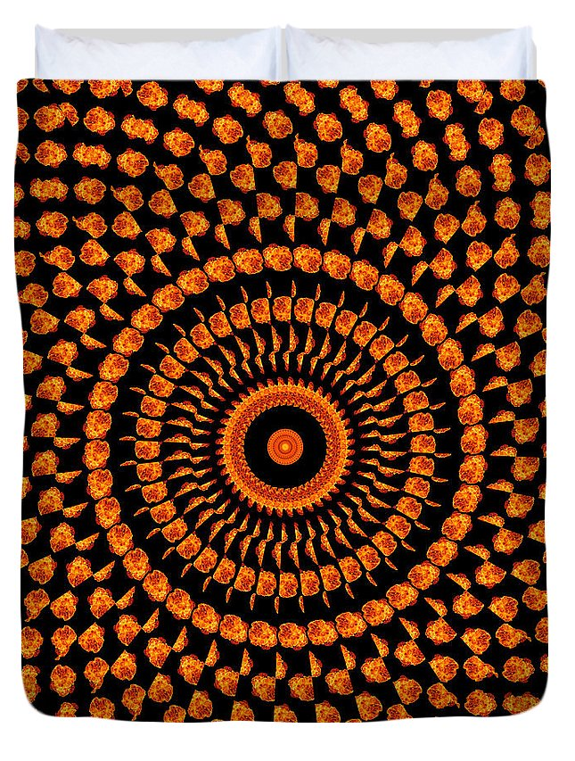 Fire Duvet Cover featuring the photograph Fiery Floral Pattern by Image World